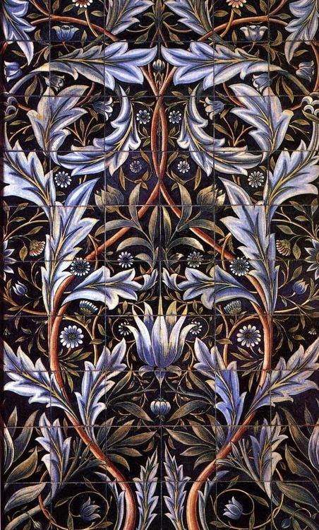 Morris uses symmetrically balanced elements in many of his floral patterns and other designs; as well as crystallographic balance.  - an example of a tile designed by Morris. (a larger photo of this tile would show and enhance the balanced design elements even more)