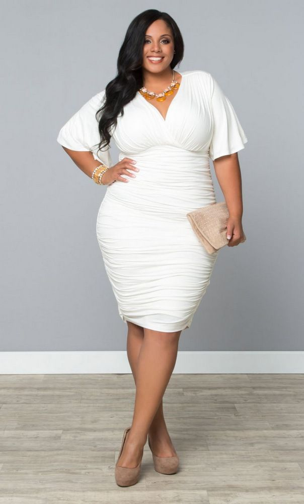 I am always down for a fancy all white or cream number. What about this one?  Rumor Ruched Dress at Kiyonna.com,...