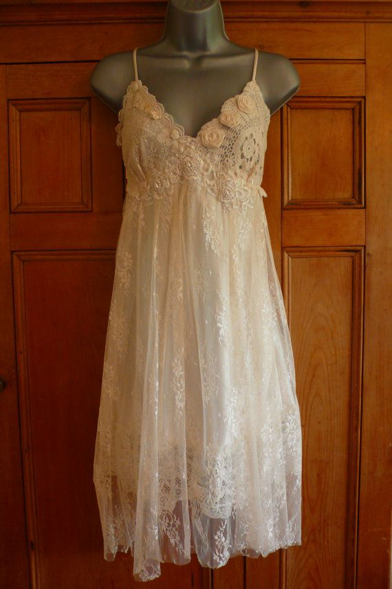 Handmade Vintage Ivory/Cream slip dress Faery Woodland Wedding ...