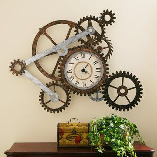 Show off your inventor's spirit with this stylish Harper Blvd clock and gears wall art. The slim but expansive design is crafted from thin sheets of metal, crafted into a network of gears that have be