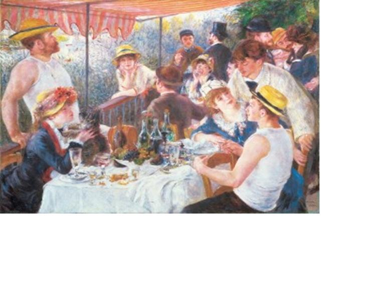 <뱃놀이 점심 (The Luncheon of the Boating Party)>  르누와르, 1881  워싱턴 필립컬렉션 소장 - 센강(江)의 사토섬에 정박한 레스토랑 푸르네즈선(船)의 테라스에서 점심 후의 느긋한 분위기를 묘사한 그림이다. 여기에 등장하는 인물들은 바르비에르 백작의 초대를 받아 자리를 같이한 인상파 화가·여배우 등 모두 르누아르의 친구들이다.