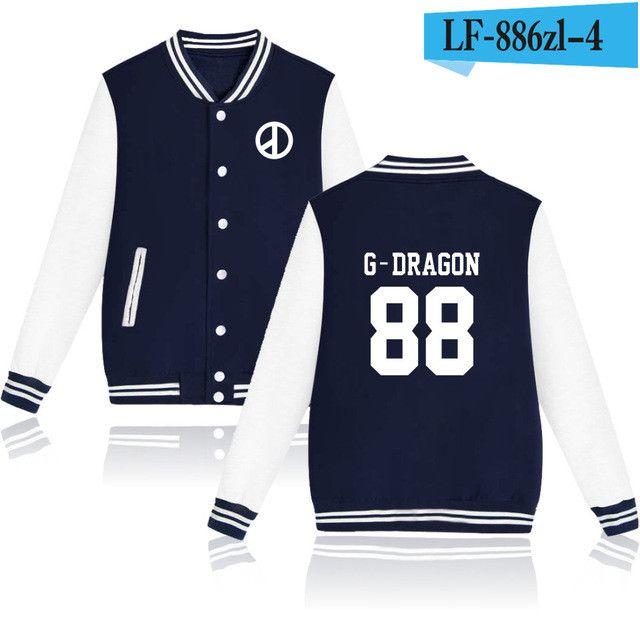 BTS Bigbang Kpop Baseball Sweatshirt Women T.O.P GD G-dragon Capless Warm Winter Hoodies Men Fashion Jacket Clothes 4XL