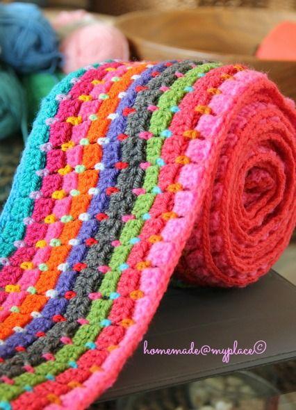 Interlocking block stitch blanket.  Click through links on blog for directions.