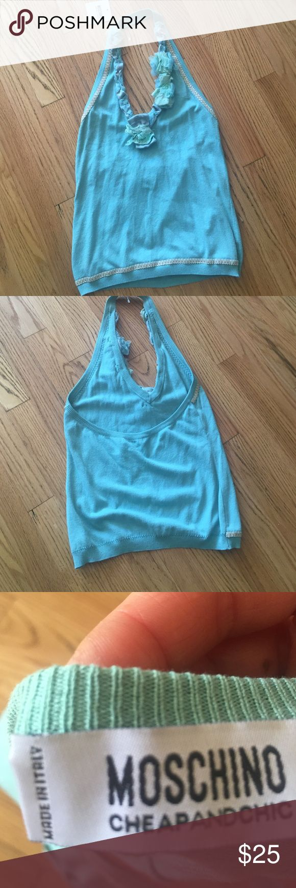 Mint green halter top Moschino size 10. Mint green halter with flowered vneck. Never worn. New with tags! It looks blue in this picture. But it's a beautiful mint green. Moschino Tops Tank Tops