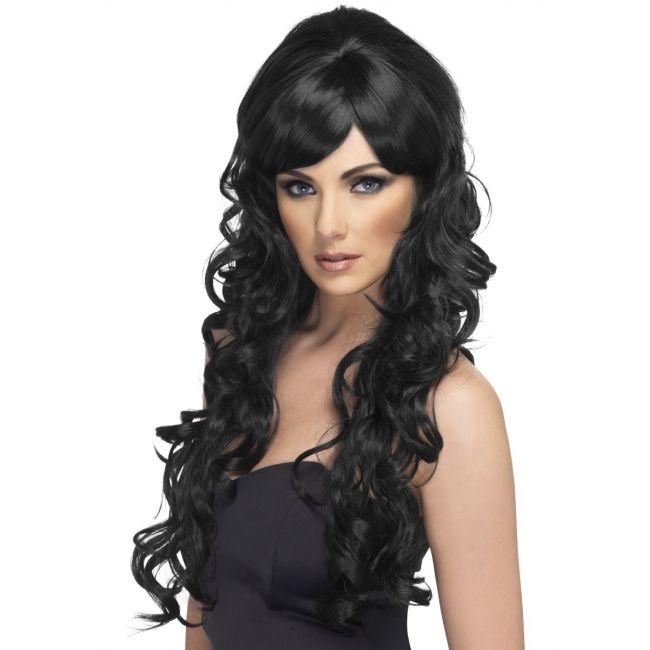Lange zwarte krullen pruik voor dames  Zwarte hoge pruik met lange krullen. Lange zwarte pruik met krullend haar.  EUR 22.95  Meer informatie