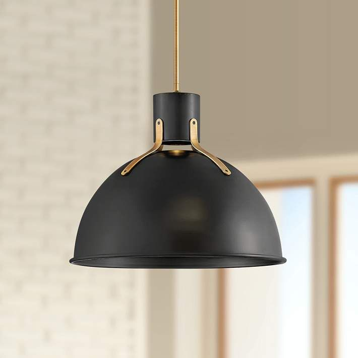 Hinkley Argo 20 W Satin Black And Brass Led Pendant Light 70y04 Lamps Plus Led Pendant Lights Modern Pendant Light