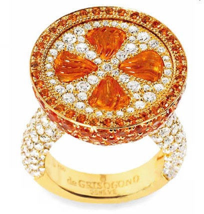 beautiful freshly squeezed... diamond and gemstone ring from the masters at de Grisogono!