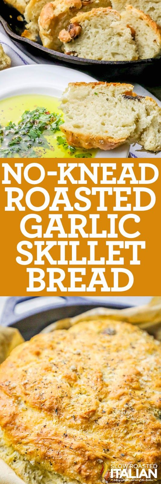 Easy Roasted Garlic No-Knead Skillet Bread is artisan style, bakery fresh bread at home with no special equipment or fussy kneading! Just mix, let rise, and bake for the most delicious bread you've ever made! Perfect for Thanksgiving!