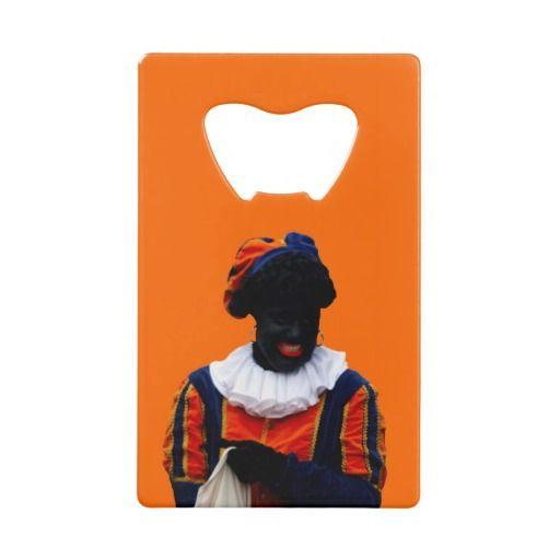 Flessenopener Oranje met Zwarte Piet Credit Card Bottle Opener