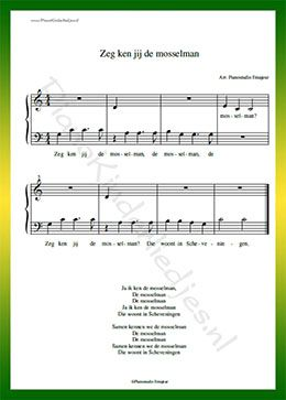 Zeg ken jij de mosselman  - Gratis bladmuziek van kinderliedjes in eenvoudige zetting voor piano. Piano leren spelen met bekende liedjes.