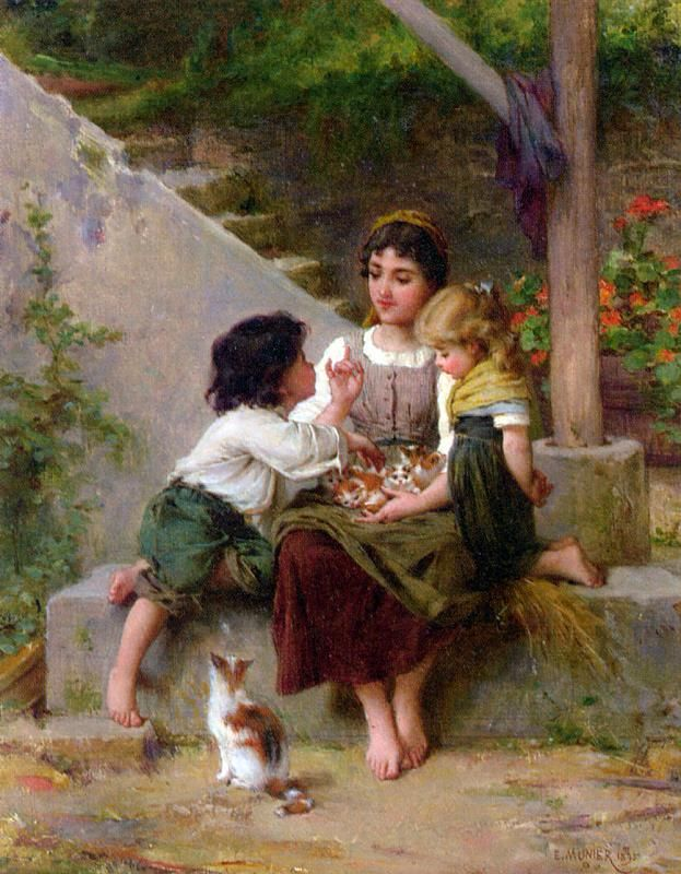 PLAYING WITH THE KITTENS, BY EMILE MUNIER