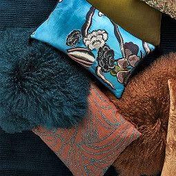 Mongolian Lamb Cushion Cover - Blue Teal (41 cm)