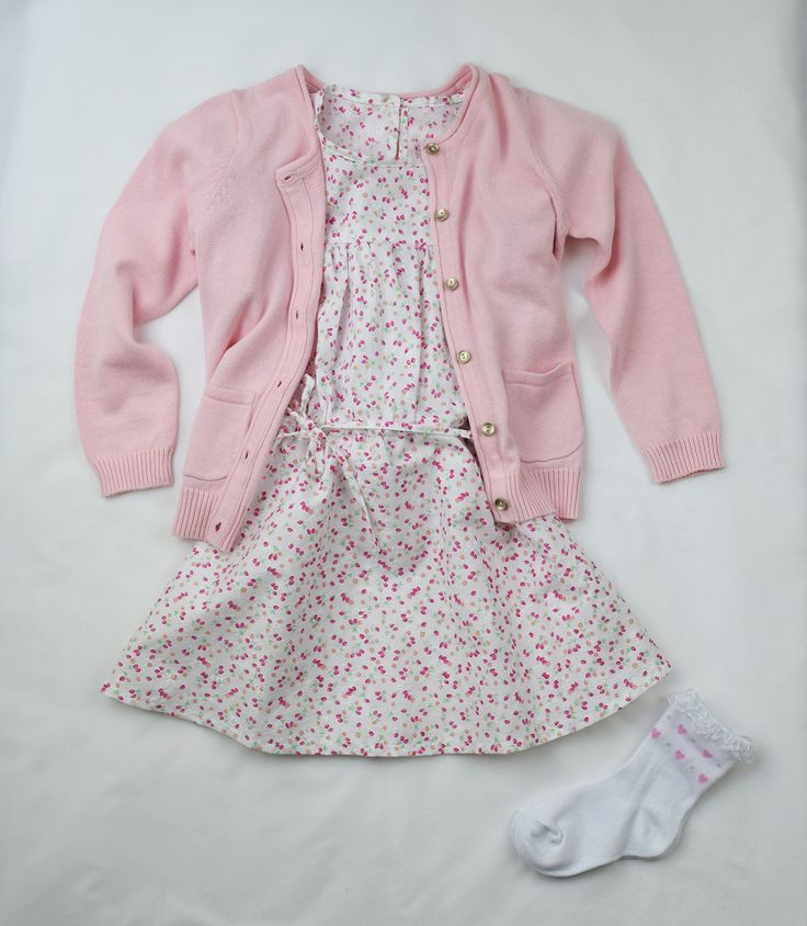 Little girls pink floral dress. Handmade with 100% cotton.