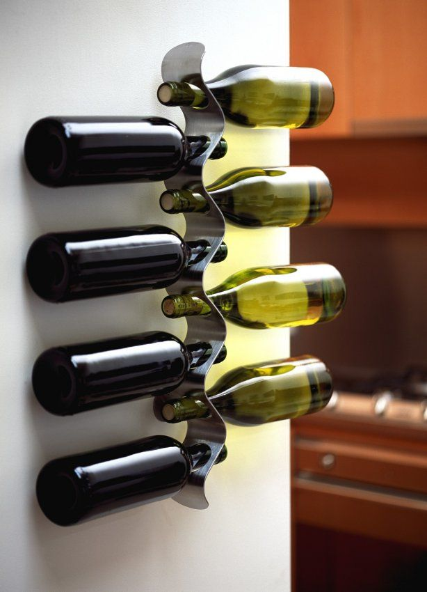 This contemporary wall mounted wine rack features a