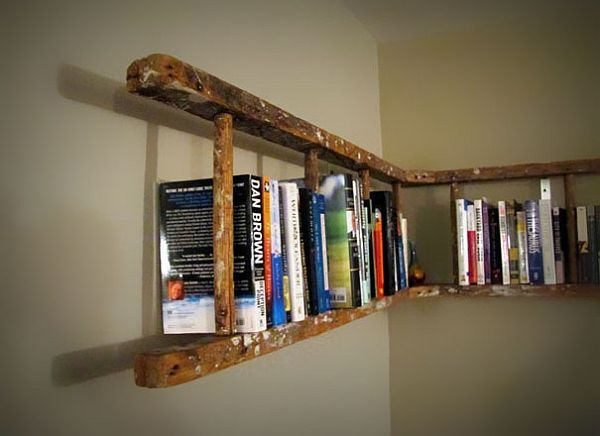 old ladder bookshelf