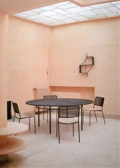 mathieu matégot room inc. sunroof and inbuilt modernist shelf.