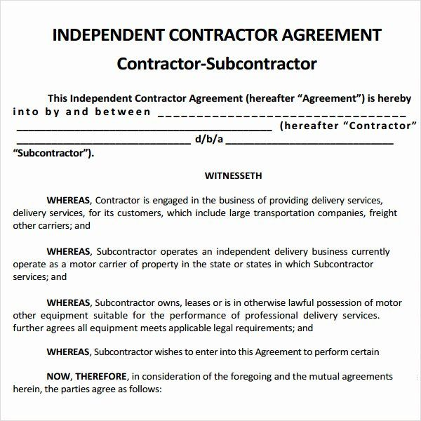 Free Construction Contract Template New Sample Subcontractor