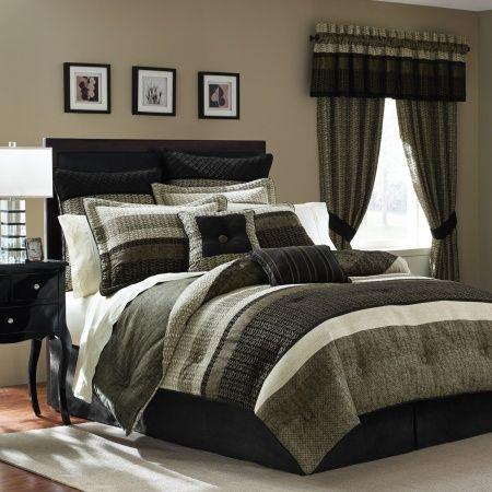 this bold horizontal stripe bedding ensemble in hues of black tauseen