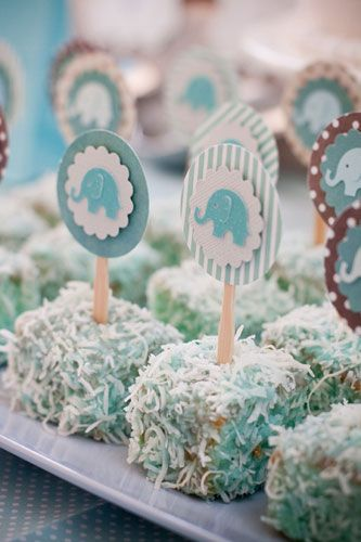 Cake bites on a stick - like a cake ball, but not, gonna try these!! Can use toothpicks and an S instead of the elephant