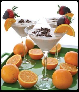 Creamsicle Martini:  Ingredients  2 oz mandarin orange-flavored vodka  2 oz DOVE CHOCOLATE DISCOVERIES™  Chocolate Martini Mix  1 oz Irish Cream  1 oz half and half  1 cup ice   http://www.letsgetchocolatewasted.com