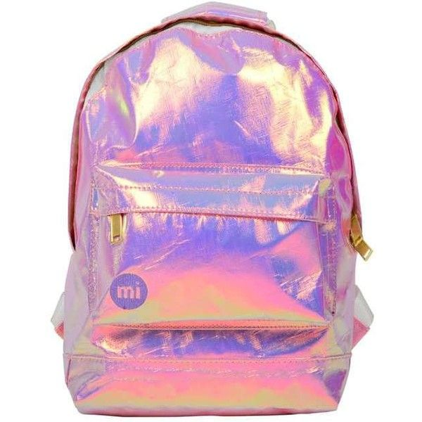 Miss Selfridge Holographic Mini Backpack found on Polyvore featuring bags, backpacks, purses, accessories, bolsos, pink, pink bag, hologram backpack, mini rucksack and backpack bags