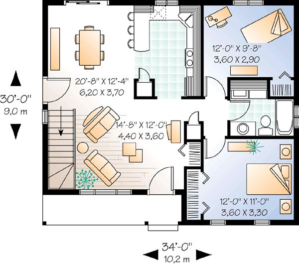 2 Bedroom Ranch With Carport House Plans Ranch House