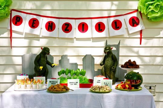 Godzilla b day party. Want.  http://www.apartmenttherapy.com/best-kids-parties-godzilla-my-party-173135