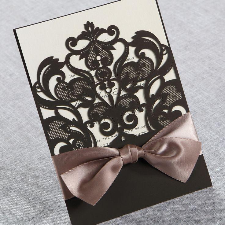 cinderellthemed wedding scroll invitations%0A Elegant Laser Cut Half Pocket with a Bow  Wedding Invitations