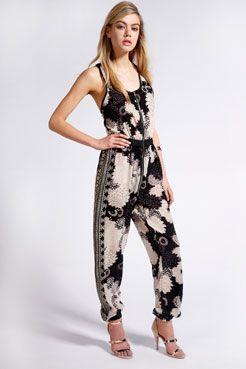 Boutique Sandrine Oriental Print Jumpsuit