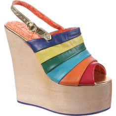 Irregular Choice - Chica Chola (Women's) - Rainbow Leather/Polyurethane - http://shoes.brandsfashion.net/shoes/shoes/irregular-shoes/irregular-choice-chica-chola-womens-rainbow-leatherpolyurethane/ -  Tower above the rest in this sky high platform sandal splashed with vibrant colors. Available Colors: Rainbow Leather/Polyurethane, Red/Blue Leather. Buy Irregular Choice  Chica Chola (Womens)  Rainbow Leather/Polyurethane