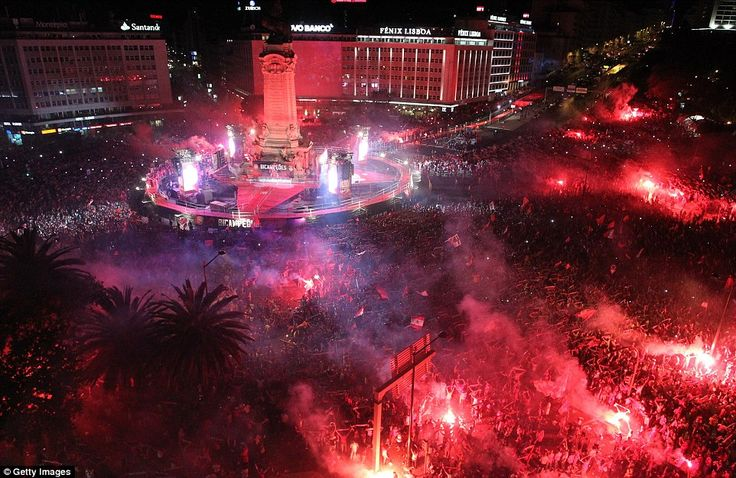 Benfica's celebrations are held at their iconic Marques de Pombal Square in Lisbon with more than 500,000 beleived to have turned up