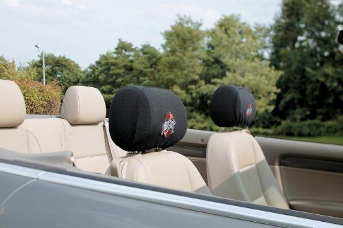 NCAA Ohio State Buckeyes Headrest Covers, Set of 2 by BSI. Save 21 Off!. $13.34. These Headrest Covers are made from a soft elastic fabric, and designed with an adjustable draw string and clasp on the bottom so it can fit almost any size car headrest. The set of 2 officially licensed headrest covers are decorated with an embroidered logo of your favorite team.