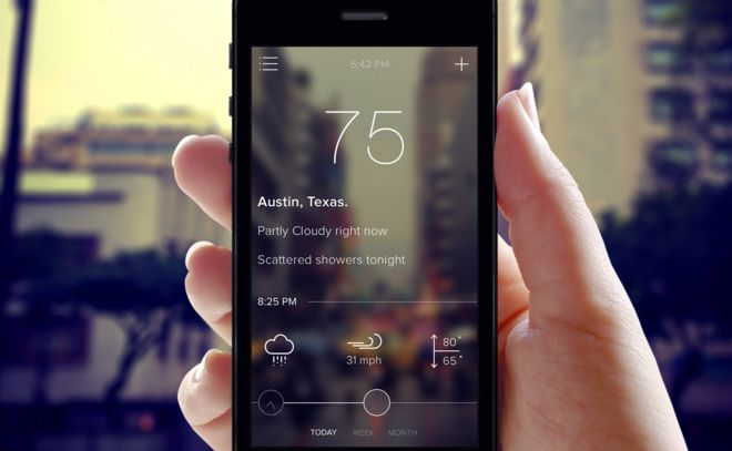Weather app UI by Simeon on Scoutzie.com