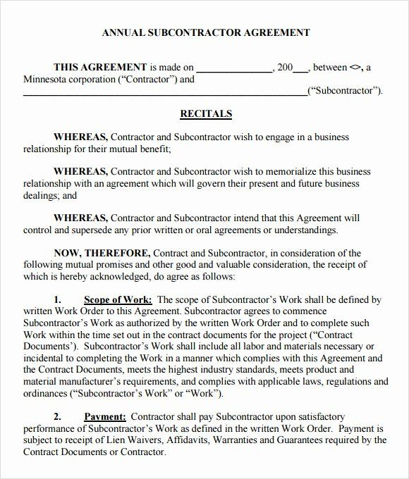 Free Subcontractor Agreement Template Luxury 8 Subcontractor Agreement Samples Contract Template Marketing Template Agreement