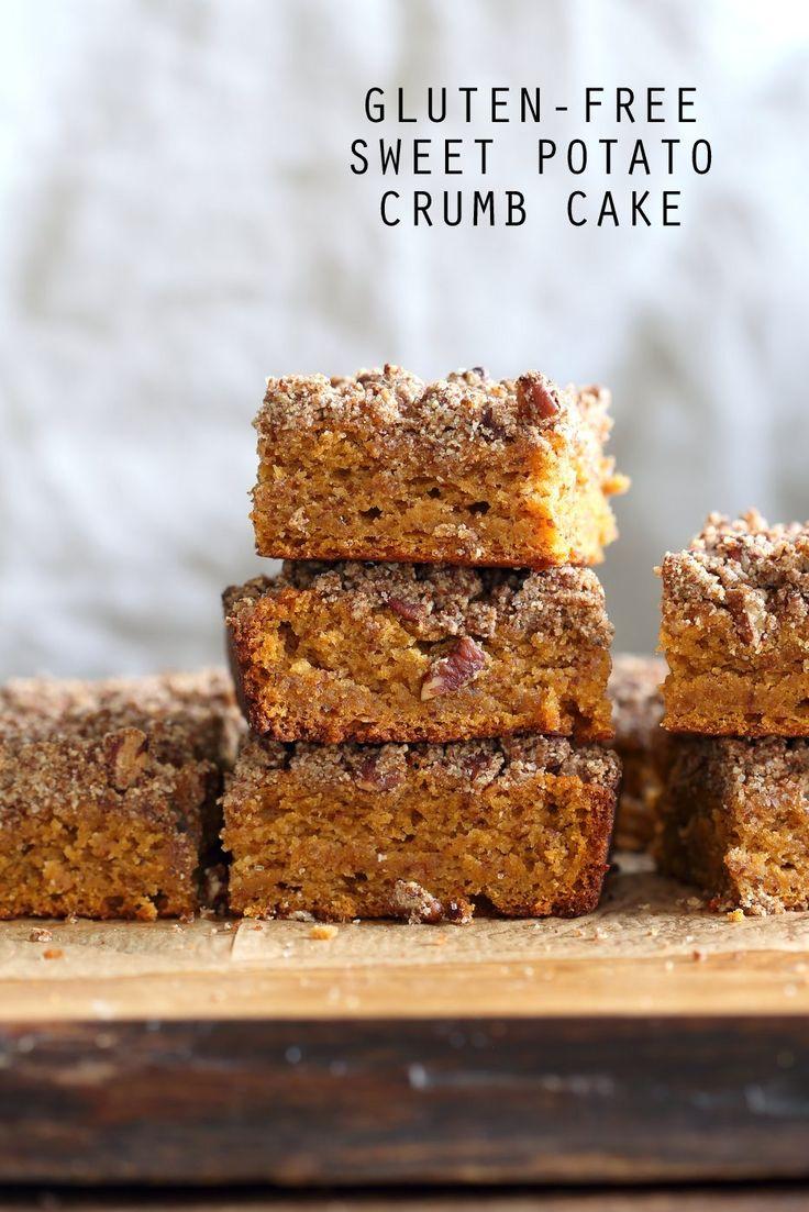 Vegan Gluten free Coffee Cake - Simple Fall Sweet Potato Pecan Crumb Cake with Pumpkin pie spices. Warm Cozy slice of cake. Gluten-free Soy-free Recipe.