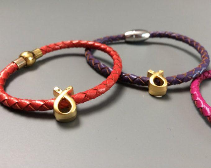 Cancer Awareness Leather Bracelet - Pancreatic Cancer Cancer Awareness bracelet -  Kidney Cancer Awareness - Brest Cancer Awareness Jewelry