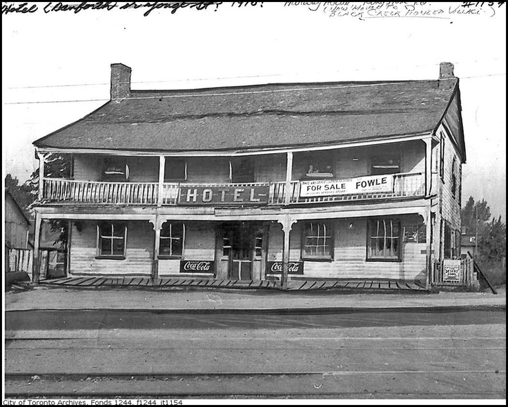 The Halfway House ... formerly at the corner of Kingston Road and Midland Avenue in The Bluffs, Scarborough, Toronto, Ontario - Now located at Pioneer Village - Google Image Result for http://i793.photobucket.com/albums/yy213/gdunbar/Then-HalfwayHouse-KingstonRdc1910.jpg