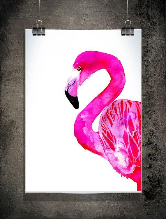 Flamingo print 30x40 cm 12x157 inch by SofieRolfsdotter on Etsy
