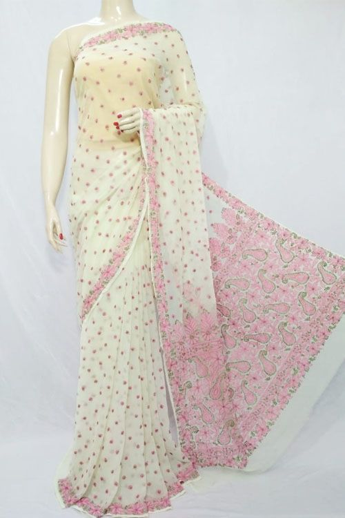dce4dcff3e Light Yellow Color Hand Embroidered Lucknowi Chikankari Saree (With Blouse  - Georgette) 71122