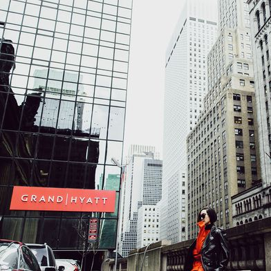 Every intersection is an editorial moment. Chriselle Lim strikes a pose on iconic 42nd Street at Grand Hyatt New York during New York Fashion Week. #LivingGrand