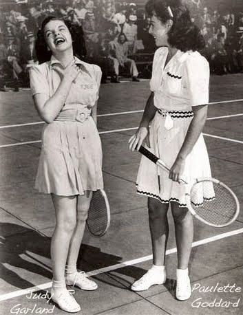 Judy Garland and Paulette Goddard at a charity tennis event. Ambassador Hotel, Hollywood, California. 1940