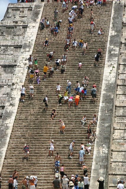 Chichén Itzá Mexico...  Tourists aren't allowed to climb these steps any longer due to vandalism in the temple at the top. What a shame not to be able to see the massiveness of this architecture from above.
