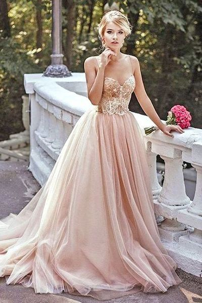 Modest Prom Dress,Lace Prom Dress,Blush Pink Prom Dresses,Evening Dress,Spaghetti straps Tulle Evening Dresses