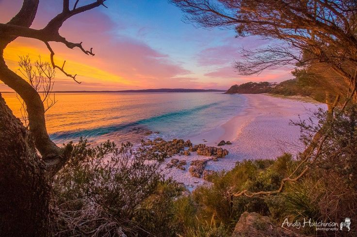 Pre-dawn lights at Chinamans Beach, Jervis Bay, NSW