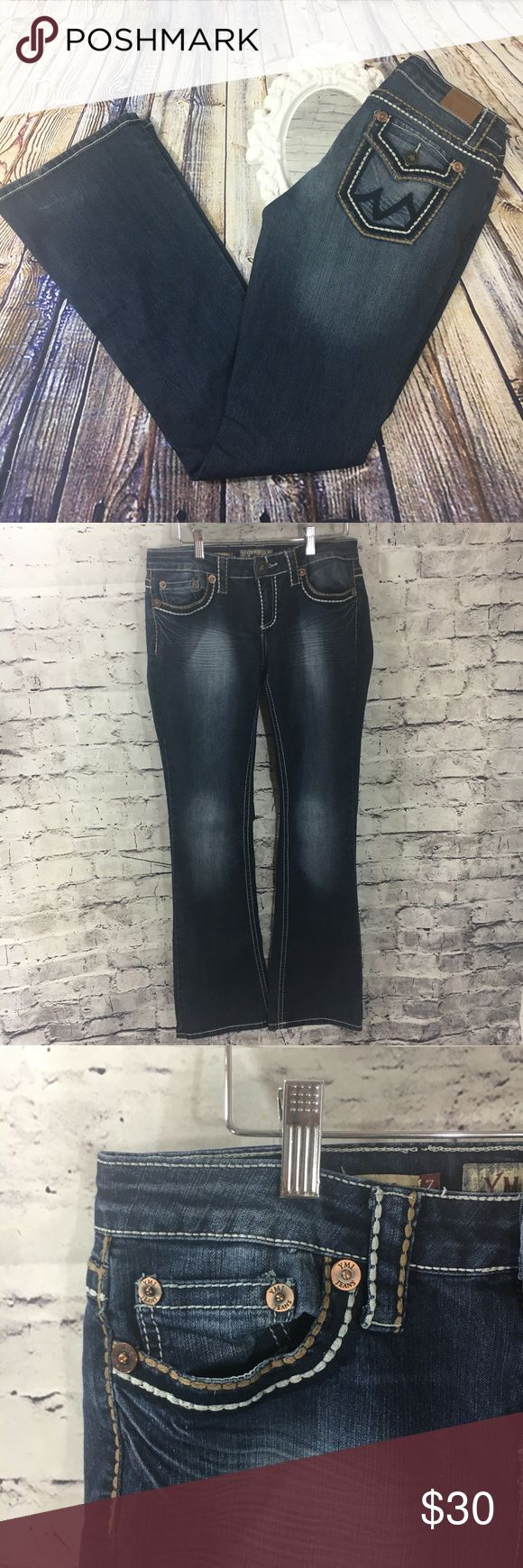 "YMI Jeans Boot Stitch and Pocket Detail Junior 7 YMI Jeans • Boot Cut • Style #P360736 • Back pocket flap embellishment detail • Junior Size 7 • 74% Cotton, 24% Polyester, 2% Spandex • Waist-30"", Rise-8"", Backrise-13"", Inseam-33"", Leg opening-9"" YMI Jeans Boot Cut"