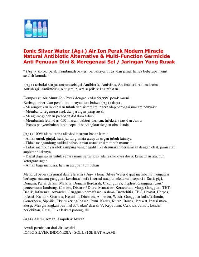 Peluang Usaha Air Ion Perak (Ag+) Ionic Silver Water di Indonesia by Ionic Silver  Indonesia via slideshare