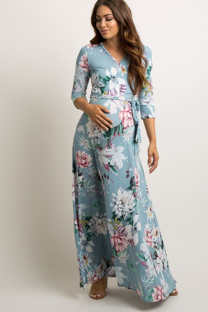 696910187d0 A floral printed maternity maxi dress. V-neckline. Perfect for nursing  after pregnancy. Sash tie. 3 4 sleeves. This style was created to be worn  before