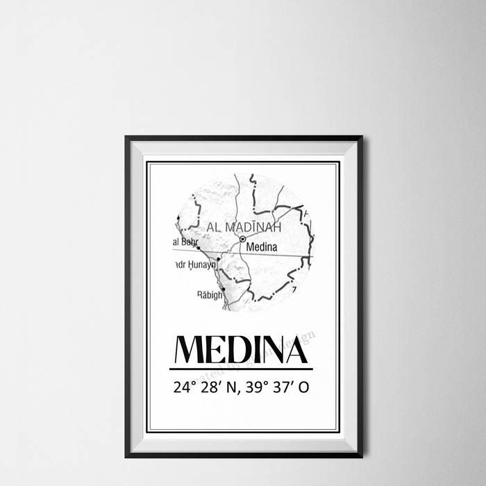 Medina Map, Städte Map, Islamische Kunst, islamic picture, islamic art, islamic wall art, islamic decor, Medina