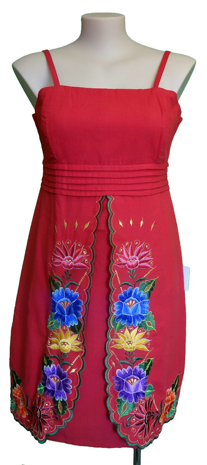 Mexican embroidered Cami Strap Dress with scalloped hemline front split by MexicanitaBoutique on Etsy