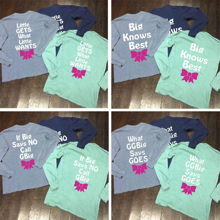 Big/Little/GBig/GGBig Family Saying Sorority Bow Comfort Colors Long Sleeve